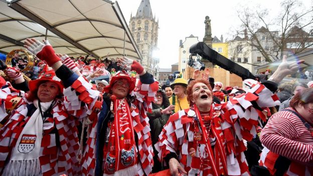 Female revellers party during carnival celebrations in Cologne