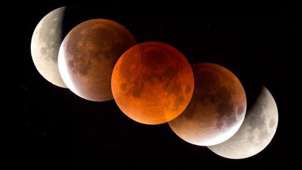 The Moon appears red in a lunar eclipse as sunlight is filtered through Earth's atmosphere (c) SPL