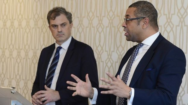 James Cleverly and Julian Smith at the launch of the Conservative Party manifesto in Northern Ireland