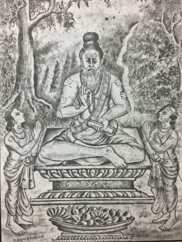 திருக்குறள் ஆங்கிலப் பதிப்பில் இருந்த திருவள்ளுவரின் உருவப்படம்.
