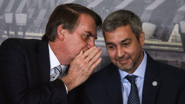 Jair Bolsonaro, presidente de Brasil, y Mario Abdo, presidente de Paraguay
