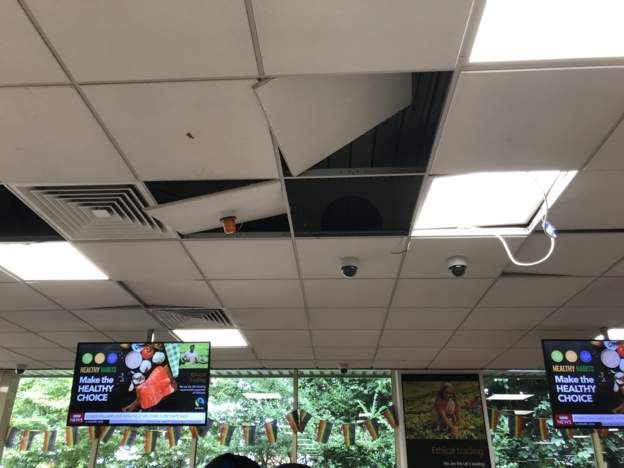 Ceiling tiles fallen down in the store