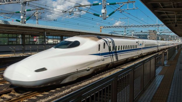 A Japanese bullet train at Odawara Station in the Kanagawa Prefecture, Japan