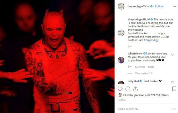 Liam Howlett Instagram post