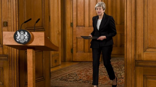 British Prime Minister Theresa May arrives to make a statement inside number 10 Downing Street