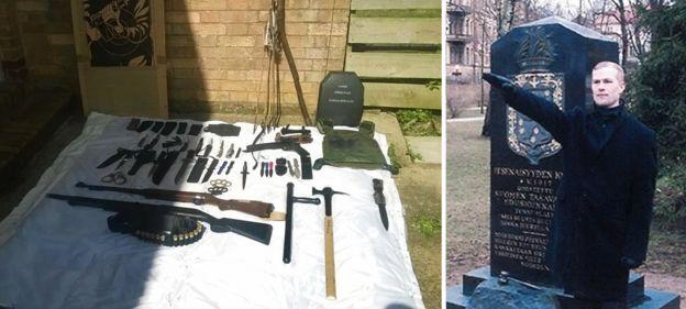 Coleção de armas de Vehvilainen, que faz uma saudação nazista na segunda foto
