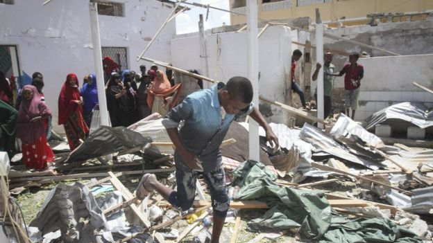 The scene of an explosion that hit Somalia's capital Mogadishu