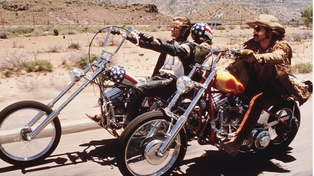Dennis Hopper and Peter Fonda ride Harley Davidsons in a scene from the film Easy Rider.