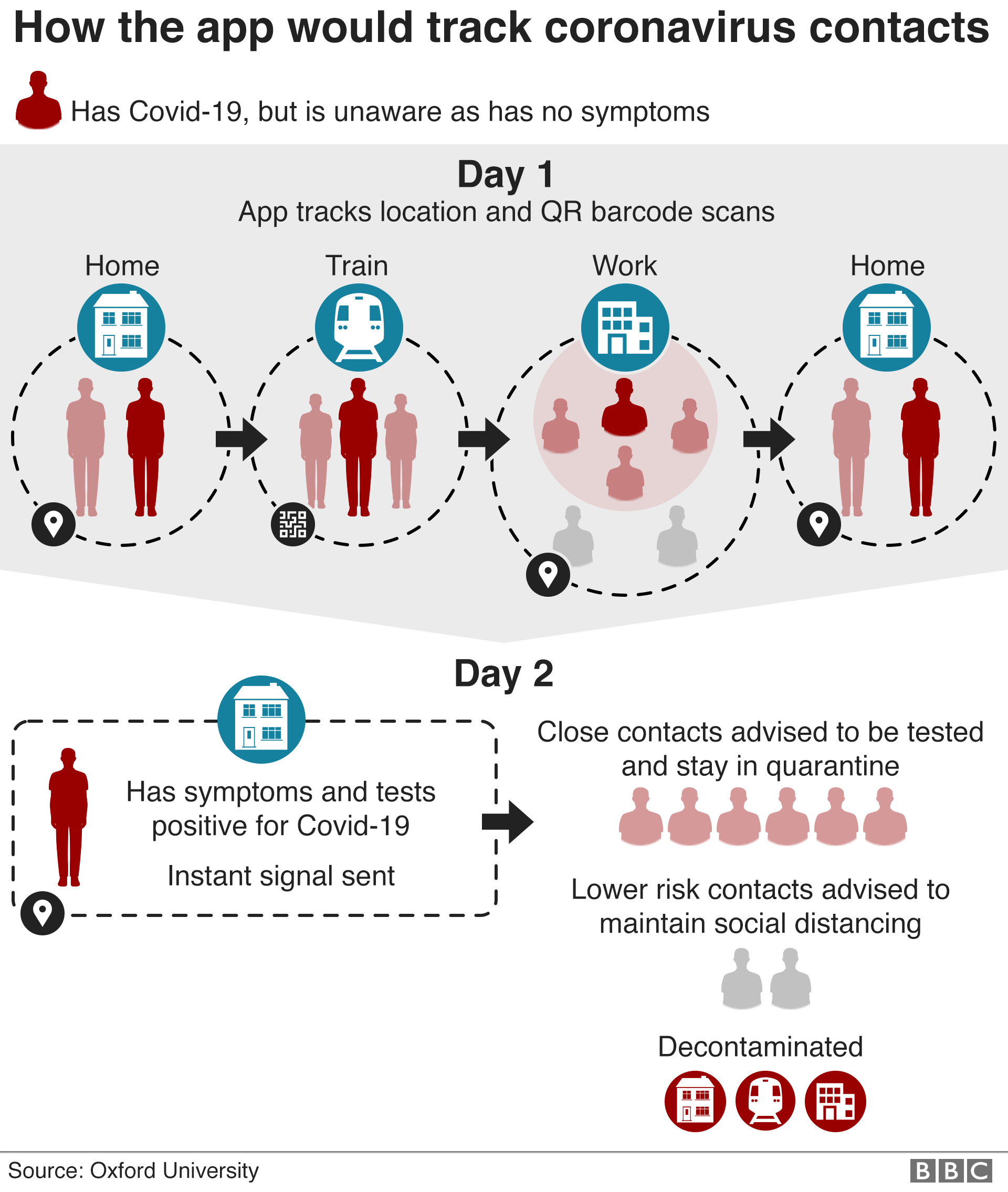Infographic shows how app would trace contacts using location and QR barcode scans and send them a notification when they'd been close to someone diagnosed with Covid-19