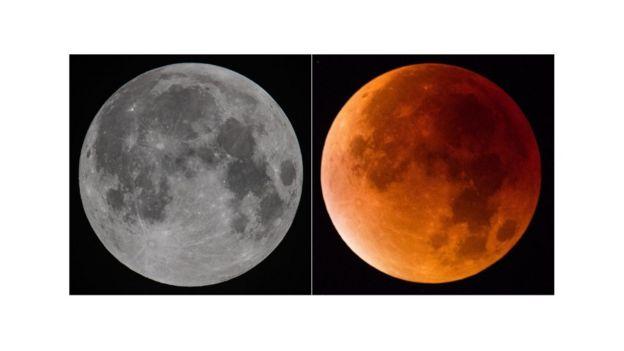 Lua com e sem efeito de eclipse