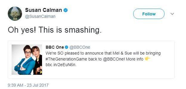 Tweet from Susan Calman