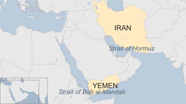 Map of the Straits of Hormuz and Bab al-Mandab