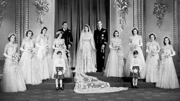 Свадебная фотография принцессы Елизаветы и принца Филипа