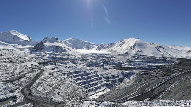 The Kumtor gold mine in the Tien Shan Mountains, about 350 km southeast of the Kyrgyz capital Bishkek