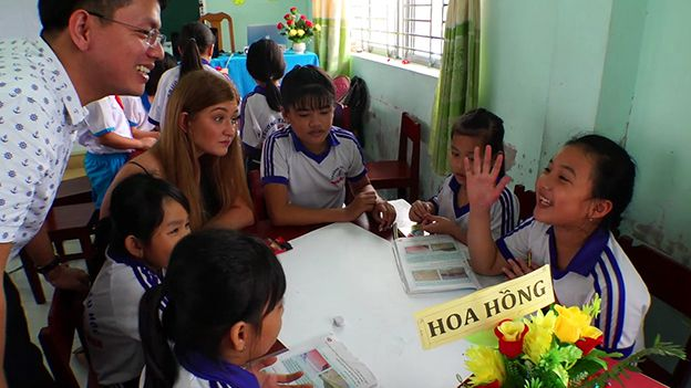 Florence Halstead from the University of Hull in a classroom in Vietnam