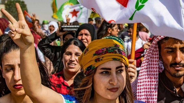 Kurds protest near the Turkish border