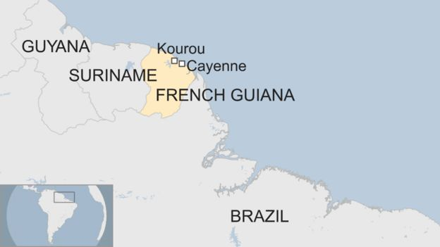 Guyana Location On World Map.French Guiana The Part Of South America Facing A Total Shutdown