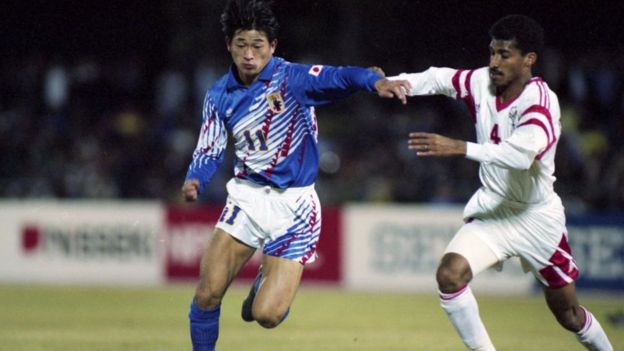 Miura playing for Japan against the UAE in the 1992 Asian Cup, a tournament Japan won