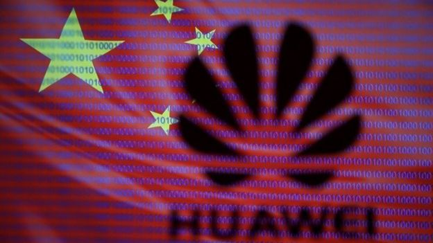 Huawei logo on Chinese flag