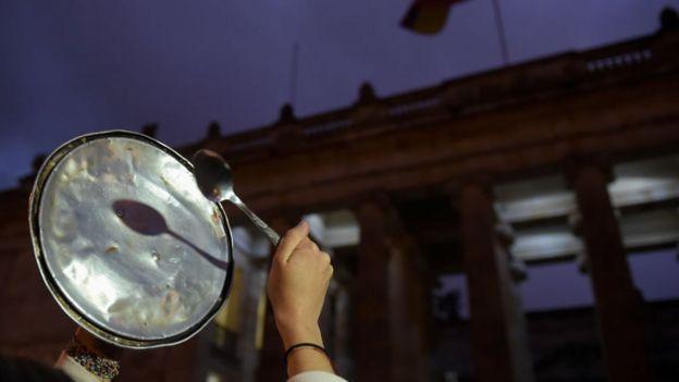Manifestación de protesta en Bogotá.