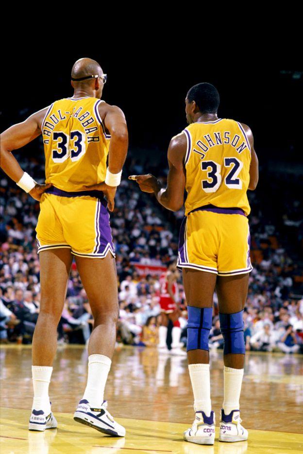 Kareem Abdul-Jabbar y Magic Johnson