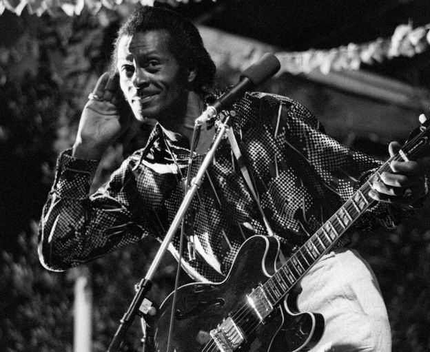 This file photo taken on July 10, 1981 shows US rock singer Chuck Berry performing in Nice, France during the