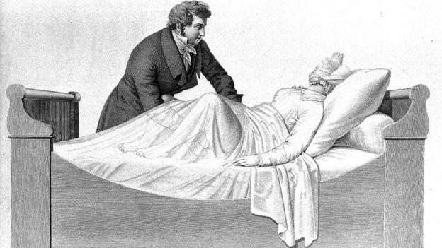 Examen de la vagina en posición vertical, 1825