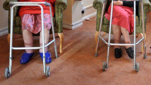 Elderly women in a care home