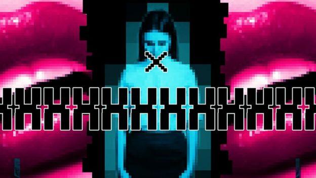 Ilustração mostra imagem pixelada de mulher