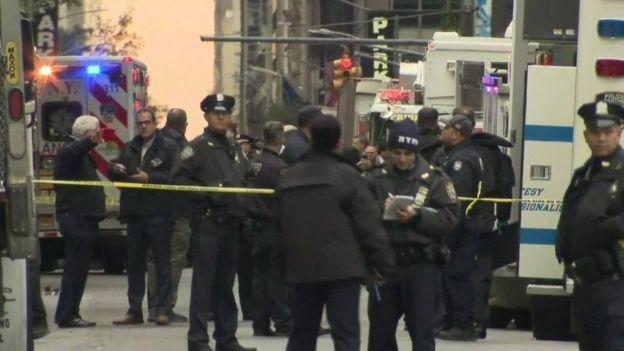 Police outside Manhattan post office