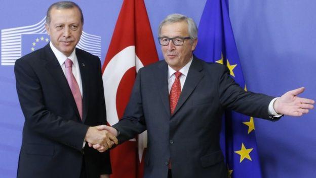 Avrupa Komisyonu Başkanı Jean Claude Juncker (R), AB Komisyonunda Brüksel, Belçika, 5 Ekim 2015'te Türkiye Cumhurbaşkanı Recep Tayyip Erdoğan'ı ağırladı.