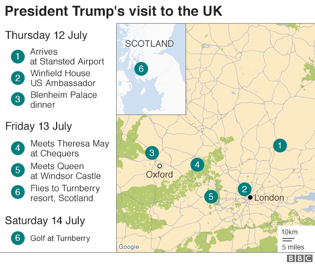 Donald Trump Uk Visit What Is Going To Happen During The Trip