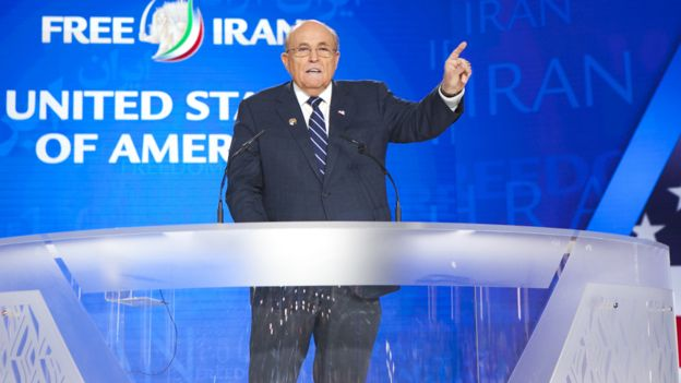 Rudy Giuliani speaking at the MEK's Free Iran gathering