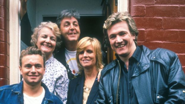Paul And Linda MCCartney With Bread Actors On Set