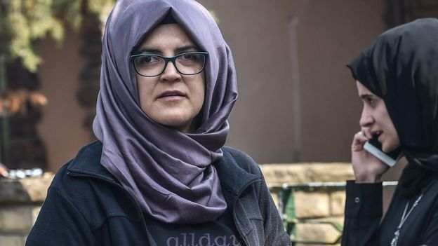 Hatice Cengiz outside the Saudi embassy