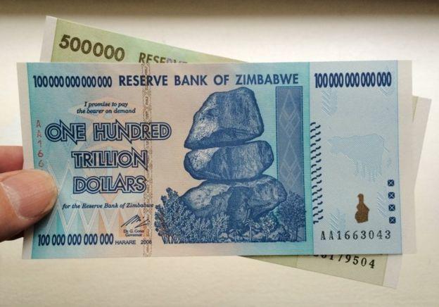Nota de 100 trilhões de dólares do Zimbábue