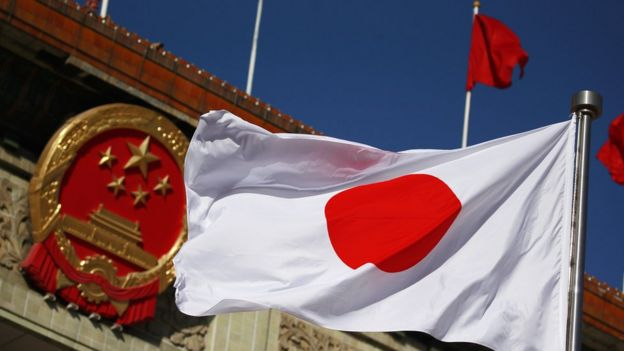 Japanese and Chinese flags