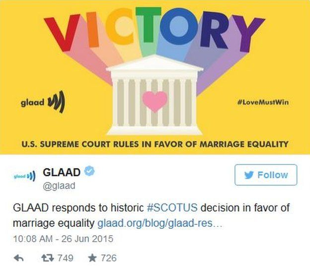 """Gay rights group GLAAD tweets a drawing of the Supreme Court with """"victory"""" in rainbow letters."""