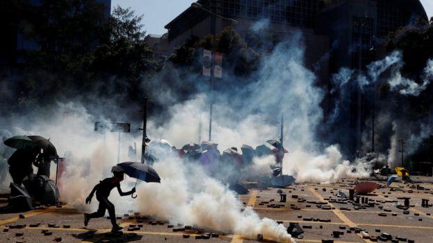 Protesters clash with police outside Hong Kong Polytechnic University in Hong Kong, China November 17, 2019