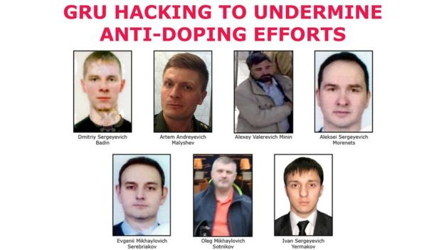 "The seven suspected agents of Russia""s GRU on a ""Wanted"" poster after being indicted for hacking."