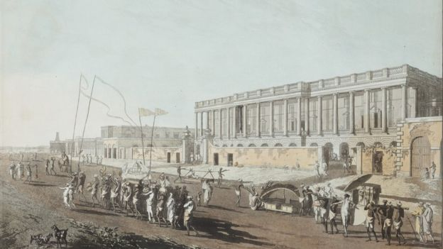 The Supreme Court house (R) and the Writers Building (L) were the centre of the British East India Company's government.