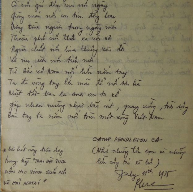 Lời ca Nối Vòng Tay Lớn được tác giả ghi lại trong những ngày ở trại tị nạn, 11 tháng 7 năm 1975
