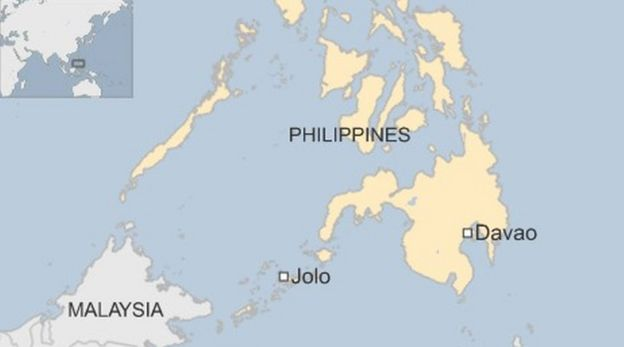 John ridsdel hostage from canada killed in philippines bbc news map showing jolo and davao gumiabroncs Choice Image