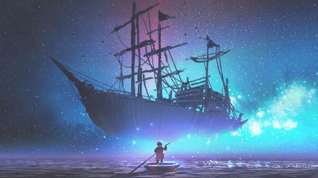 Ilustração mostra um barco e, próximo a ele, uma criança remando em um bote, com o céu repleto de estrelas
