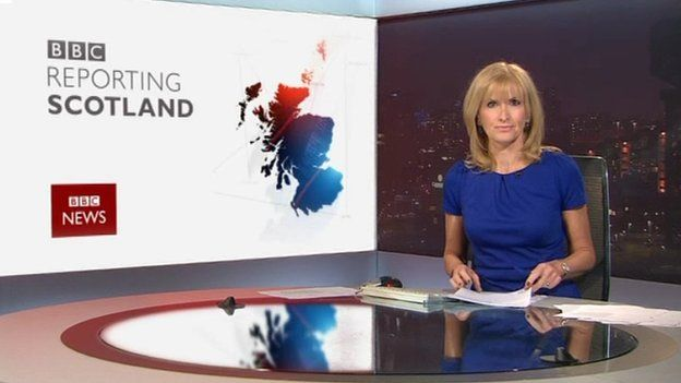 Jackie presenting flagship news programme Reporting Scotland