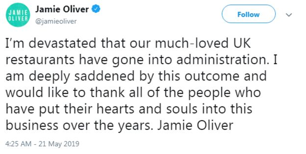 Jamie Oliver Restaurant Chain Collapse Costs 1 000 Jobs