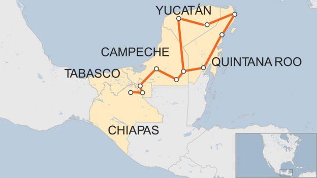 Mapa del sureste de México con algunos puntos a los que se prevé que llegue el tren.