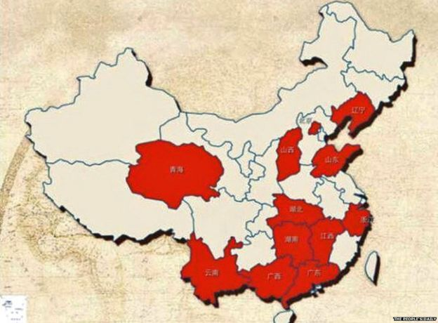 Map showing areas in China with highest concentration of philandering