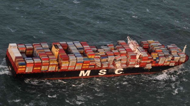 Handout aerial photo made available by the Central command for maritime emergencies (Havariekommando) on January 2, 2019 shows the container ship MSC ZOE