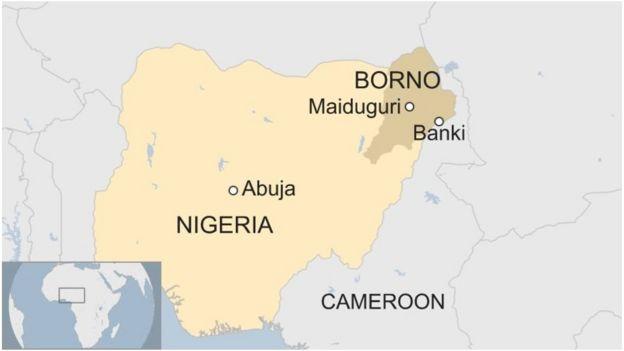 Ramani ya Nigeria inayoonyesha mji wa mpakani wa Banki